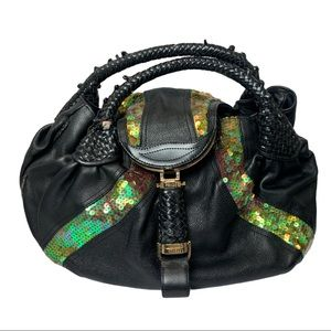 Fendi Nappa Spy Tortuga Calf Black Leather Sequins